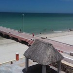 beachside condo from pier in Sisal Yucatanpalapapier