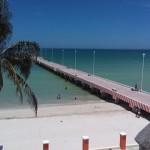 beachside condo from pier in Sisal Yucatanpalmtopier