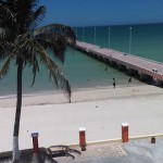 beachside condo from pier in Sisal Yucatanpooltopier