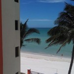beachside condo from pier in Sisal Yucatanview