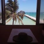 beachside condo from pier in Sisal Yucatanwindowview