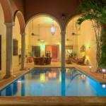 night pool  Hacienda style home for sale in Merida Yucatan