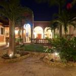 garden at night  Hacienda style home for sale in Merida Yucatan